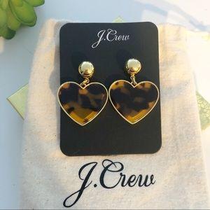 J.CREW NWT Tortoise Shell Heart Drop Earrings